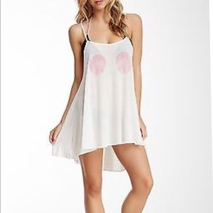 Wildfox swim pink shell high low cover up size M